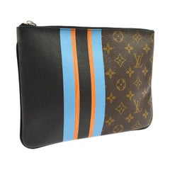 Louis Vuitton Monogram Canvas Leather Stripe Evening Pouch Clutch Bag