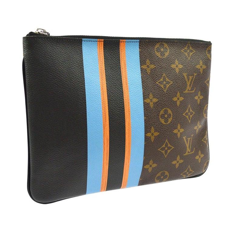 Louis Vuitton Monogram Canvas Leather Stripe Evening Pouch Clutch Bag For Sale