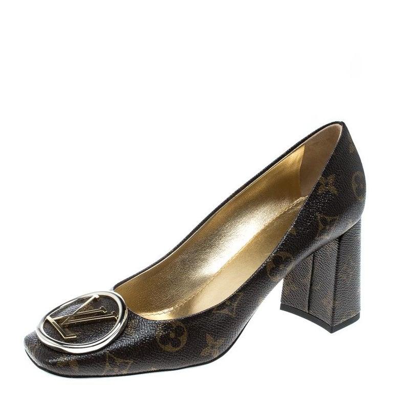 1f9dc245cb7f Louis Vuitton Monogram Canvas Madeleine Square Toe Pumps Size 39 For ...