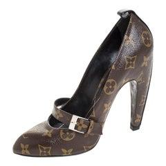 Louis Vuitton Monogram Canvas Pointed Toe Strap Pumps Size 37