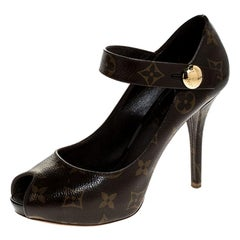 Louis Vuitton Monogram Canvas Ritual Mary Jane Peep Toe Pumps Size 36