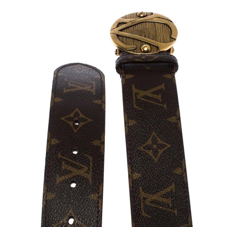 Men's Louis Vuitton Monogram Canvas Round Logo Plague Buckle Belt 90CM For Sale