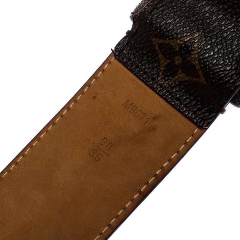 Louis Vuitton Monogram Canvas Round Logo Plague Buckle Belt 90CM For Sale 1