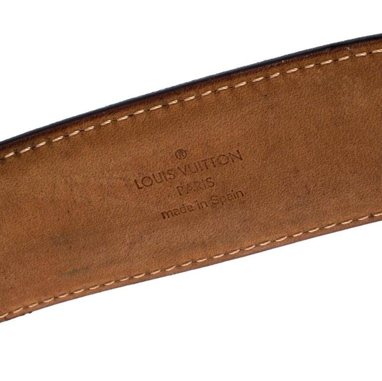 Louis Vuitton Monogram Canvas Round Logo Plague Buckle Belt 90CM For Sale 2