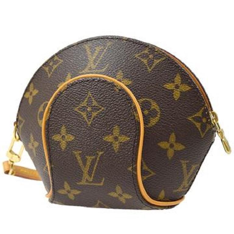 Brown Louis Vuitton Monogram Canvas Small Mini Wristlet Evening Pochette Clutch Bag For Sale