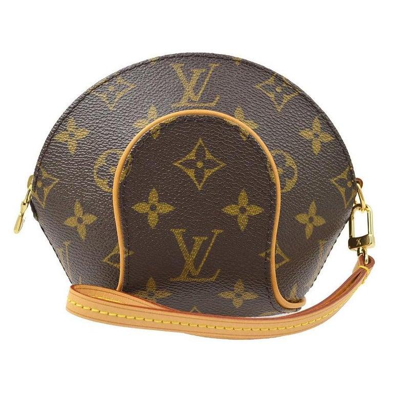 Louis Vuitton Monogram Canvas Small Mini Wristlet Evening Pochette Clutch Bag For Sale