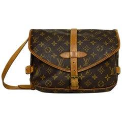 Louis Vuitton Monogram Coated Canvas Saumur 30 Double Saddle Messenger Bag