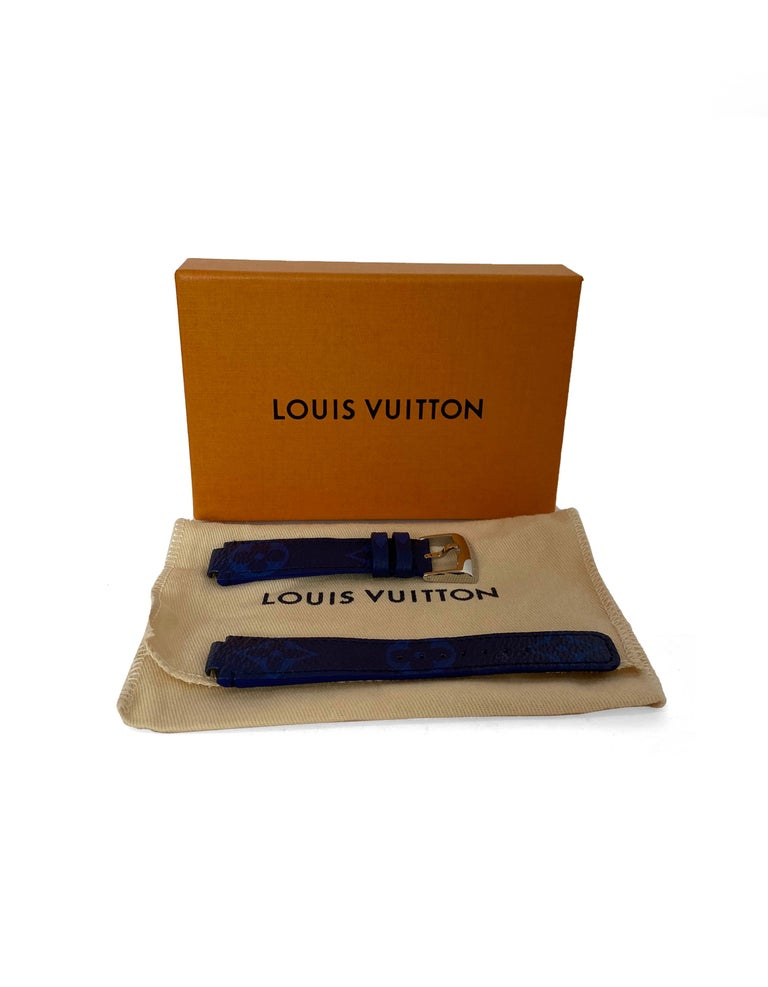 Louis Vuitton Monogram Cobalt Blue Watch Strap.  Watch strap for LV Tambour 39.  Made In: France Color: Blue, black, silver Materials: Coated canvas and leather Model Name: Compatible with Tambour 39 watch Retail Price: $405 plus tax Overall