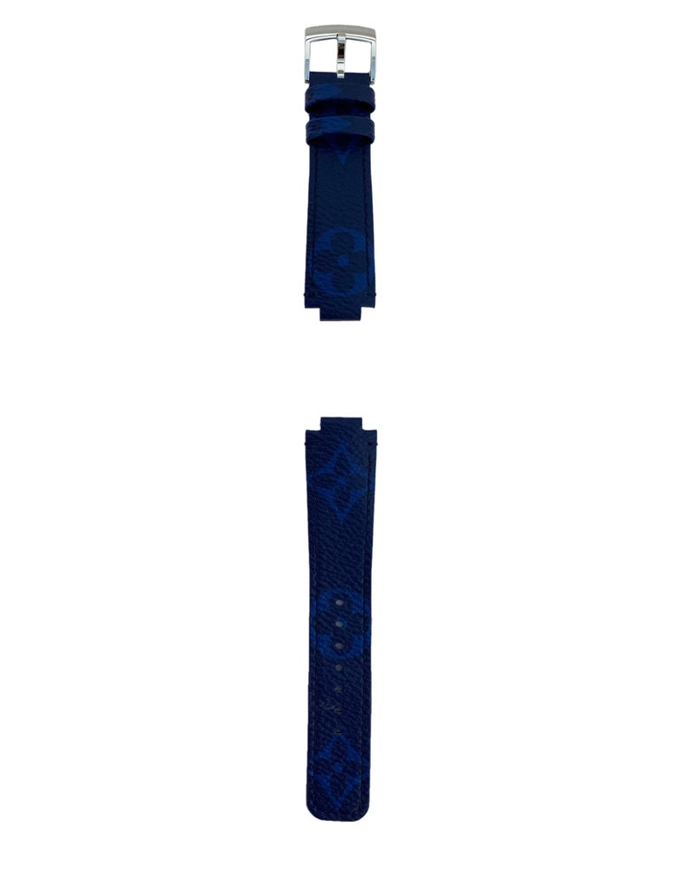 Louis Vuitton Monogram Cobalt Blue Tambour Watch Strap In Excellent Condition For Sale In New York, NY