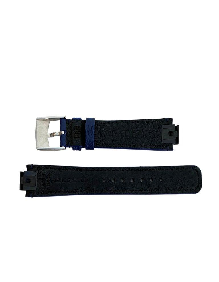 Women's or Men's Louis Vuitton Monogram Cobalt Blue Tambour Watch Strap For Sale