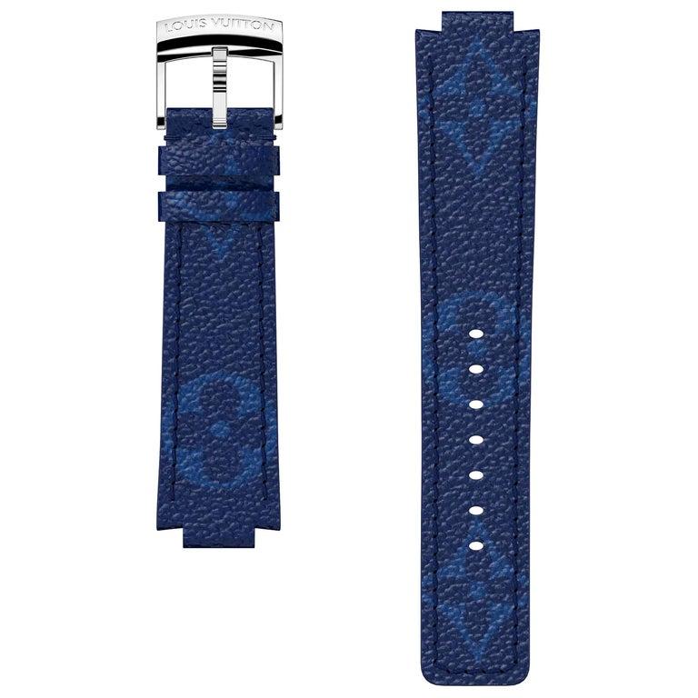 Louis Vuitton Monogram Cobalt Blue Tambour Watch Strap For Sale