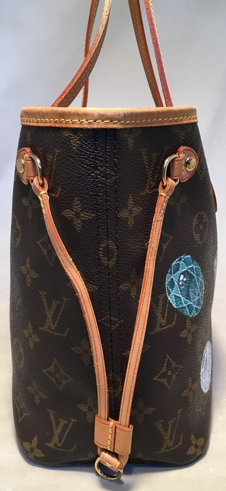 Louis Vuitton Monogram Customized Hand Painted Jewels Neverfull PM Shoulder Bag in excellent condition. Monogram canvas exterior trimmed with tan leather and brass hardware. Customized, hand painted multifaceted gemstone jewels on exterior painted