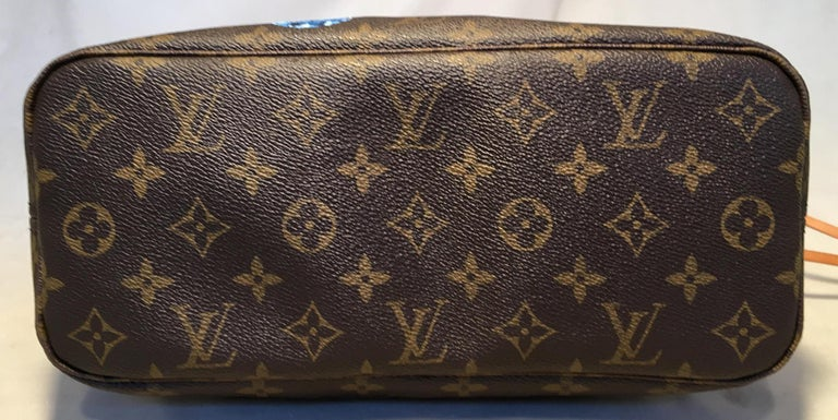 Louis Vuitton Monogram Customized Hand Painted Jewels Neverfull PM Shoulder Bag In Excellent Condition For Sale In Philadelphia, PA
