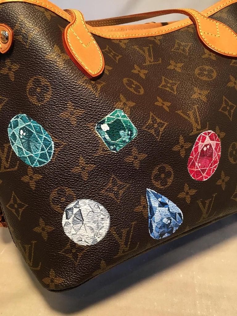 Women's Louis Vuitton Monogram Customized Hand Painted Jewels Neverfull PM Shoulder Bag For Sale