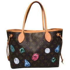 Louis Vuitton Monogram Customized Hand Painted Jewels Neverfull PM Shoulder Bag