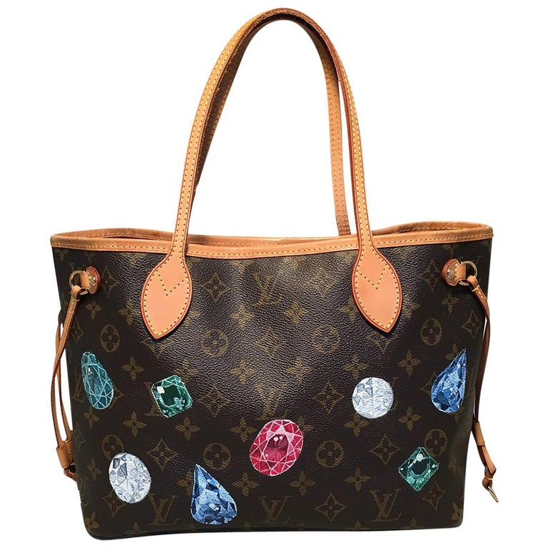 Louis Vuitton Monogram Customized Hand Painted Jewels Neverfull PM Shoulder Bag For Sale