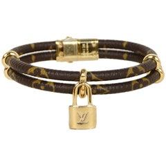 Louis Vuitton Monogram Double Keep It Twice Logo Lock Bracelet