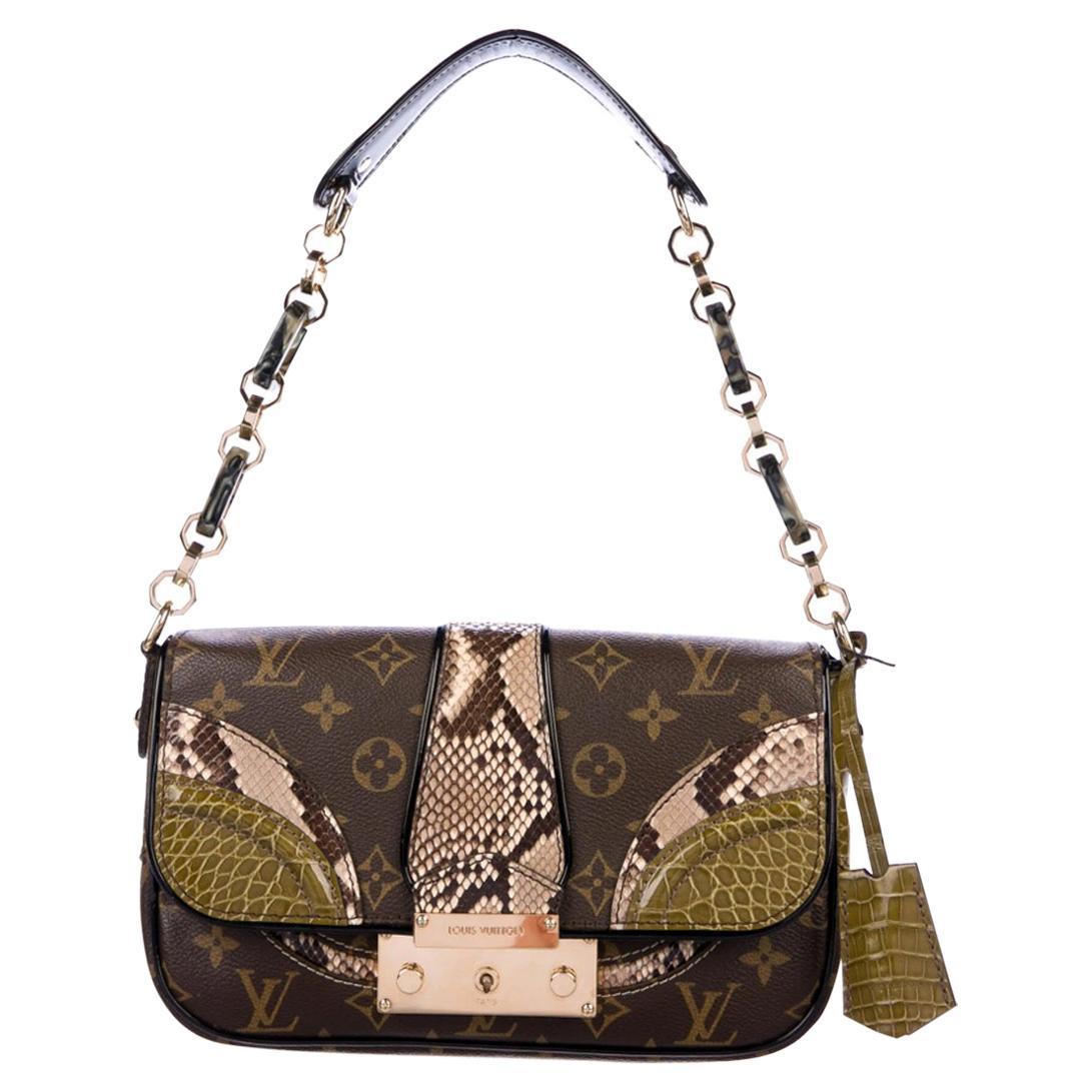 Louis Vuitton Monogram Exotic Top Handle Satchel Pochette Shoulder Flap Bag