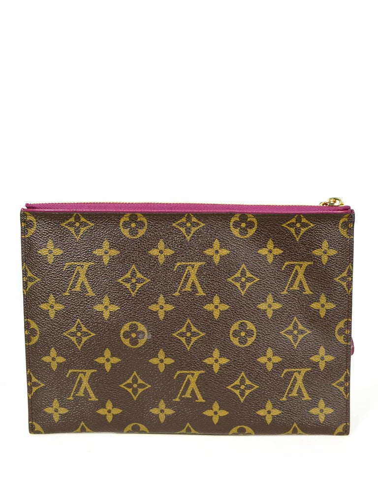 Brown Louis Vuitton Monogram/Grape Pochette Pallas Wristlet Bag For Sale