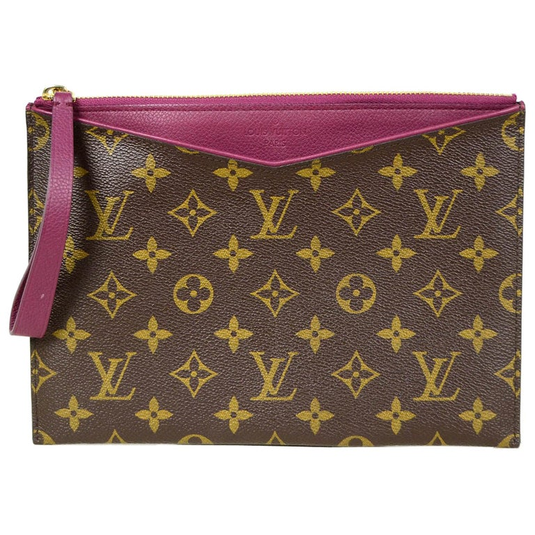 Louis Vuitton Monogram/Grape Pochette Pallas Wristlet Bag For Sale