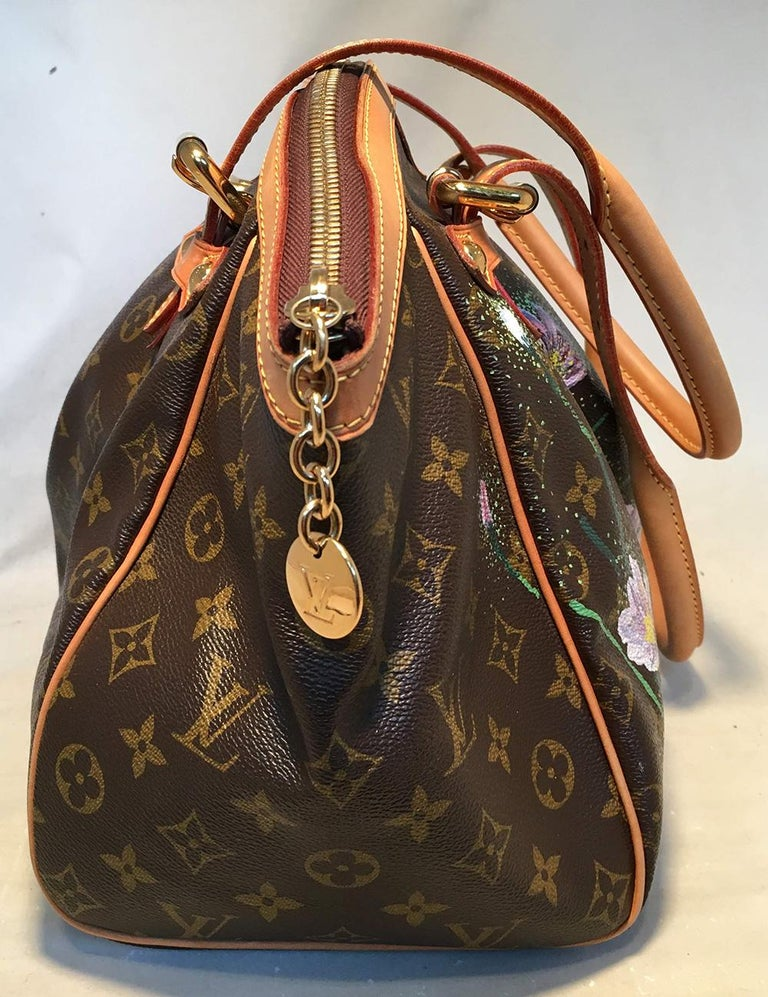 Black Louis Vuitton Monogram Hand Painted Floral Tivoli GM Shoulder Bag Tote For Sale