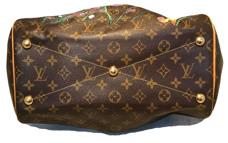 Louis Vuitton Monogram Hand Painted Floral Tivoli GM Shoulder Bag Tote In Good Condition For Sale In Philadelphia, PA