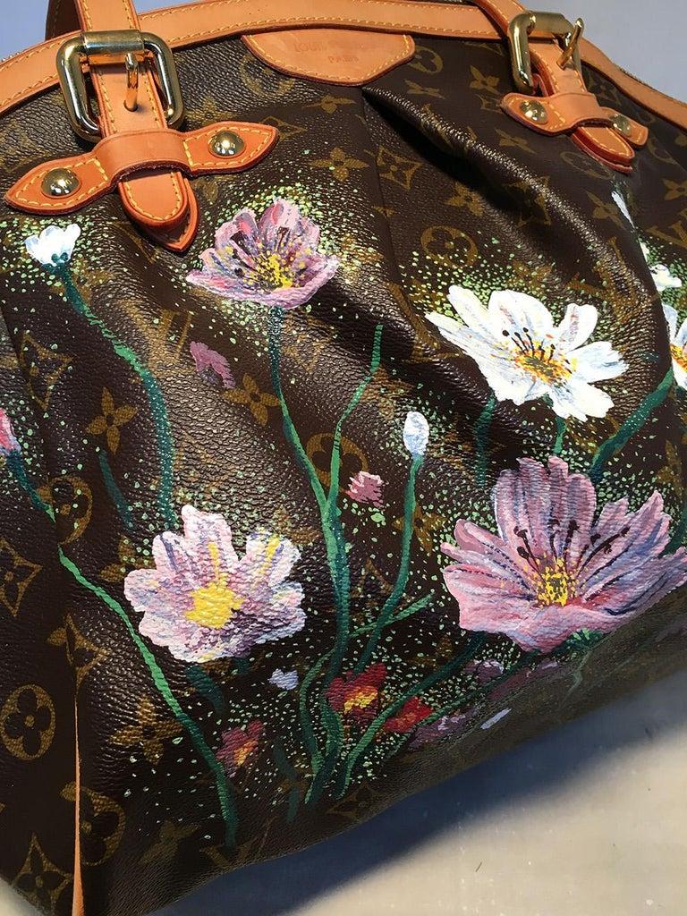 Women's Louis Vuitton Monogram Hand Painted Floral Tivoli GM Shoulder Bag Tote For Sale