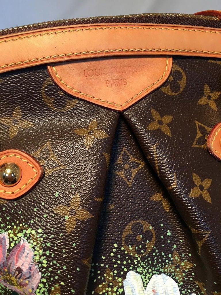 Louis Vuitton Monogram Hand Painted Floral Tivoli GM Shoulder Bag Tote For Sale 1