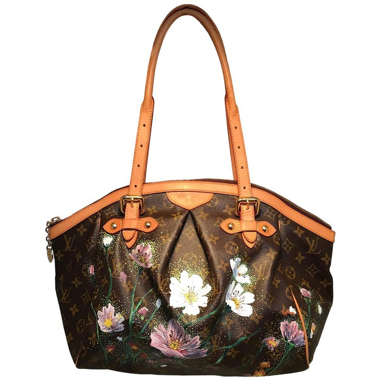 Louis Vuitton Monogram Hand Painted Floral Tivoli GM Shoulder Bag Tote For Sale