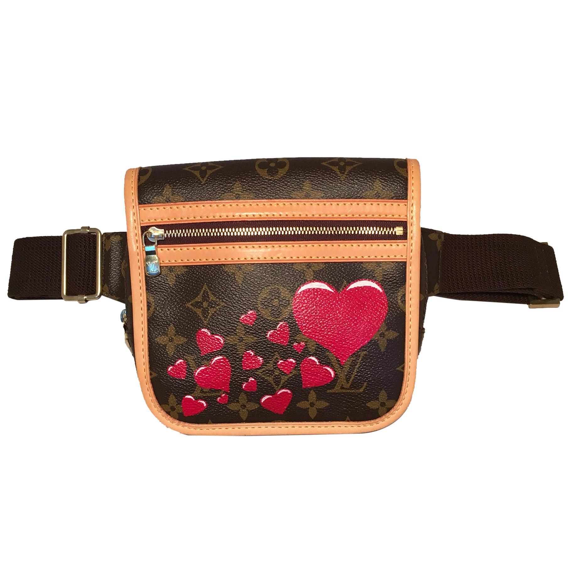 Louis Vuitton Monogram Customized Hearts Bosphore Bum Bag Fanny Pack Belt Bag