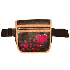 Louis Vuitton Monogram Customized Hearts Bosphore Bum Bag Fanny Pack Belt Bag
