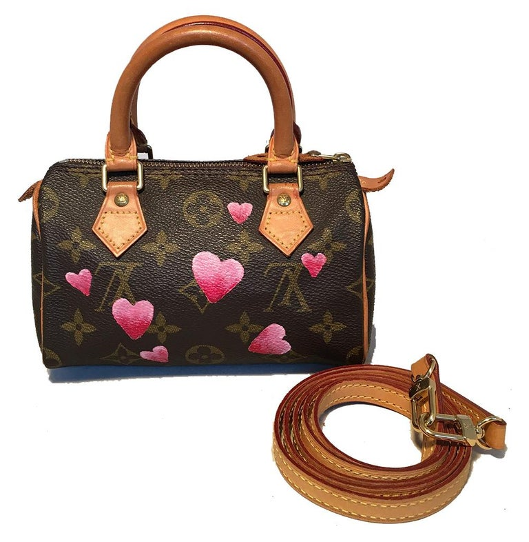 Louis Vuitton Monogram Customized Hand Painted Hearts Mini Nano Speedy with Strap in excellent condition. Signature monogram canvas exterior trimmed with tan leather handles, piping, and removable shoulder strap. Customized, hand painted pink