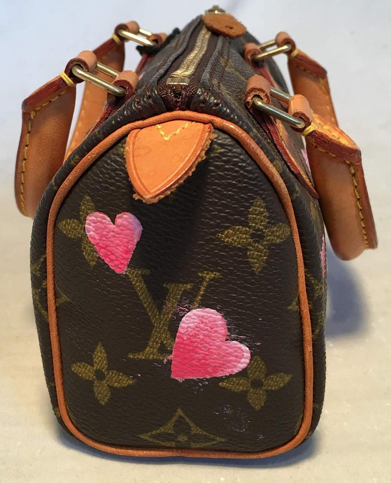 Louis Vuitton Monogram Customized Hand Painted Hearts Mini Nano Speedy w/ Strap In Excellent Condition For Sale In Philadelphia, PA
