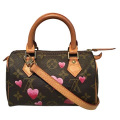 Louis Vuitton Monogram Customized Hand Painted Hearts Mini Nano Speedy w/ Strap