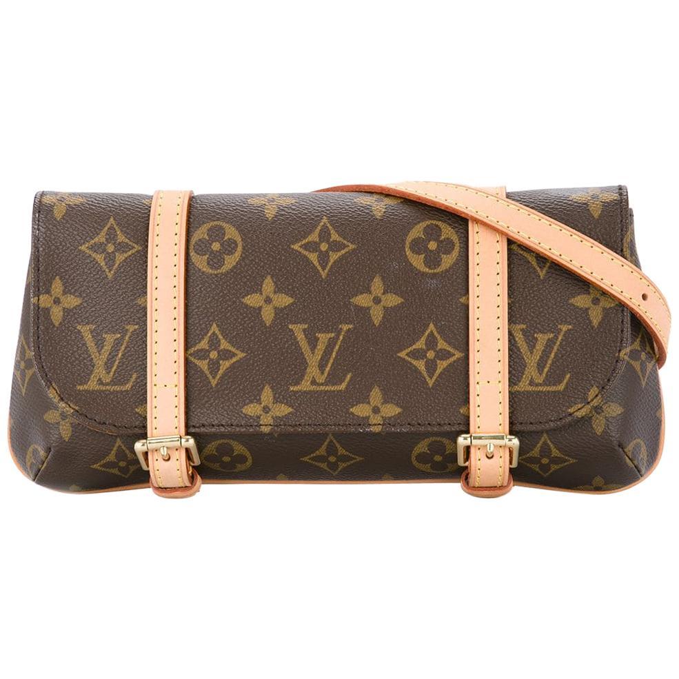 Louis Vuitton Monogram Leather Double Buckle Bum Fanny Pack Waist Belt Bag