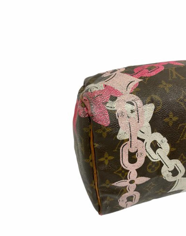 Louis Vuitton Monogram Leather Speedy Chains LE For Sale 5
