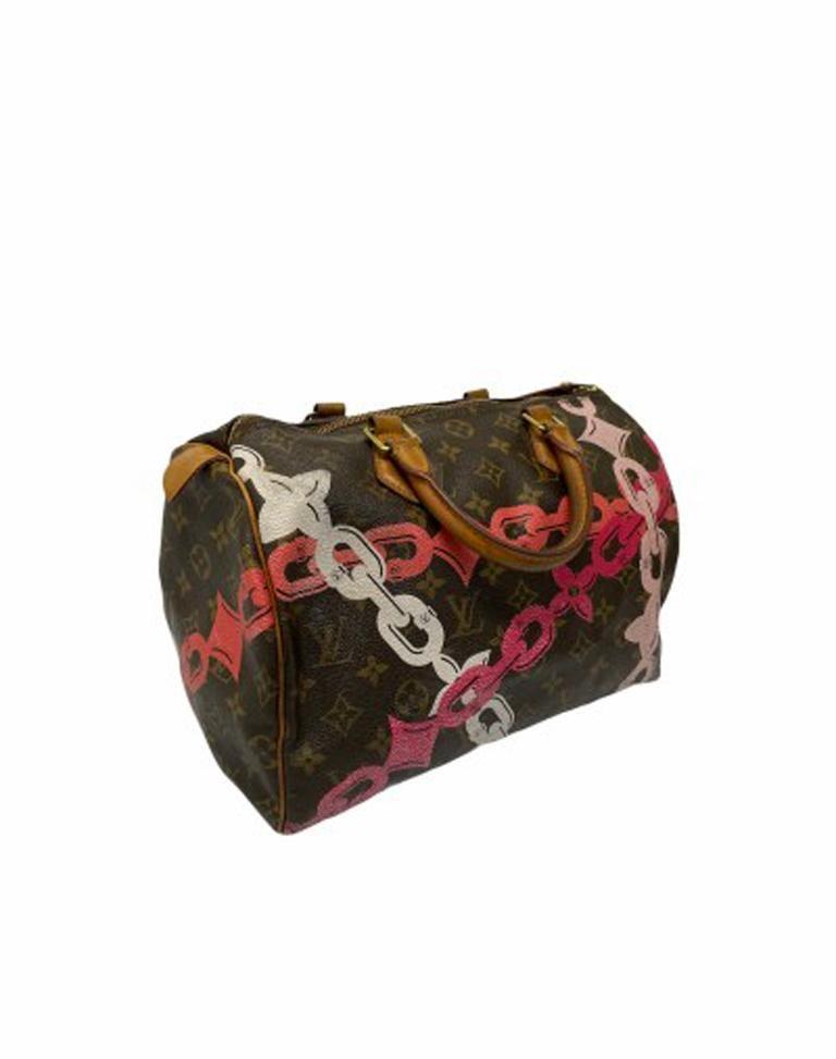 Black Louis Vuitton Monogram Leather Speedy Chains LE For Sale