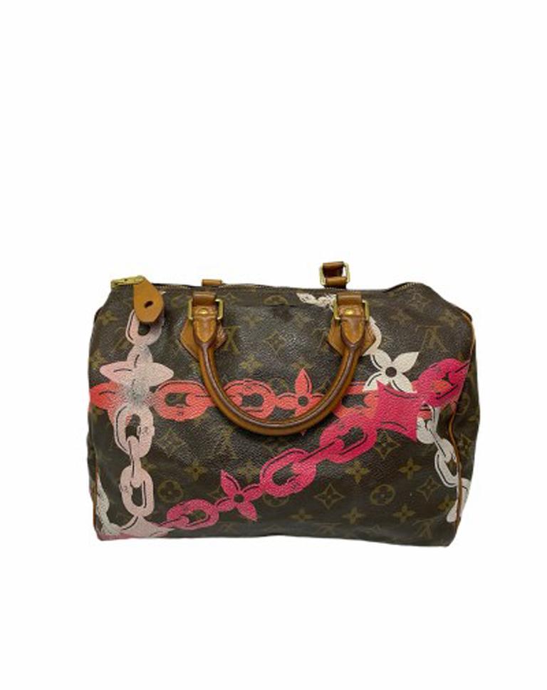 Women's Louis Vuitton Monogram Leather Speedy Chains LE For Sale