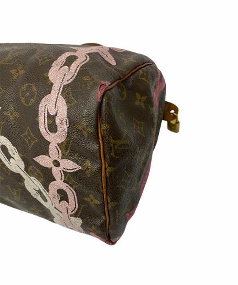 Louis Vuitton Monogram Leather Speedy Chains LE For Sale 2