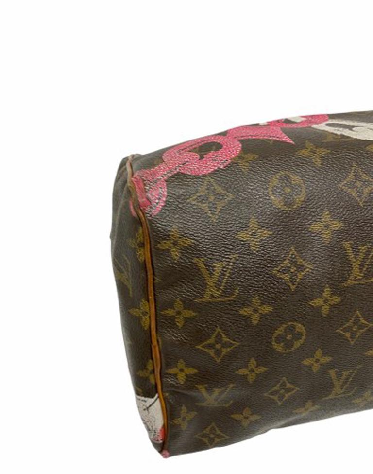 Louis Vuitton Monogram Leather Speedy Chains LE For Sale 3