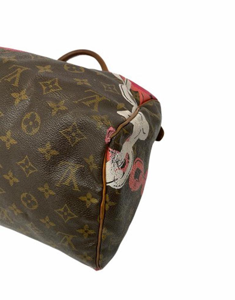 Louis Vuitton Monogram Leather Speedy Chains LE For Sale 4