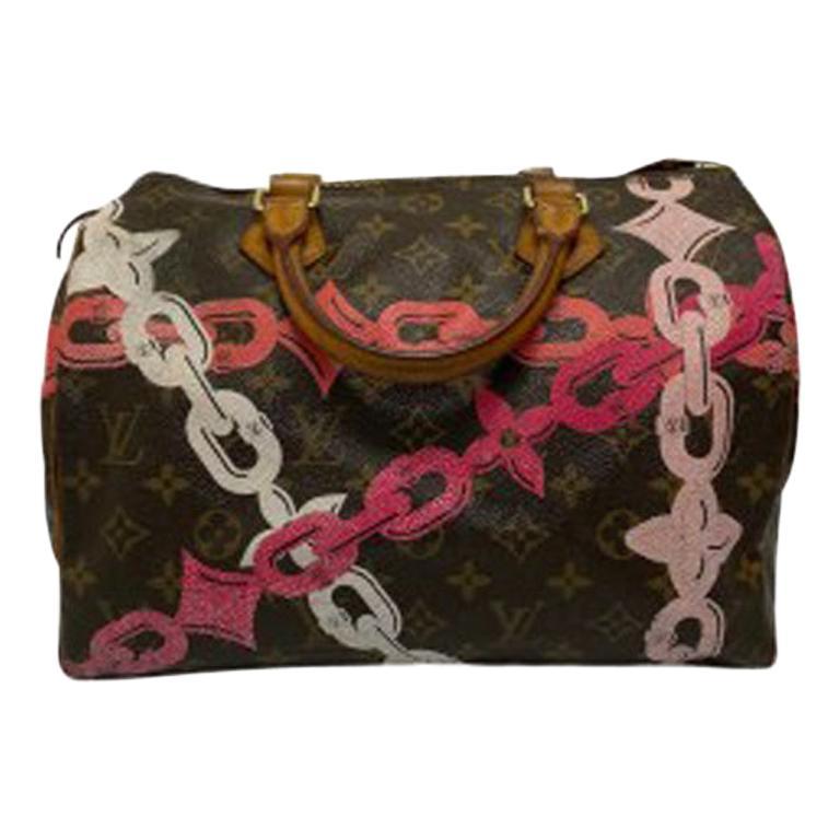 Louis Vuitton Monogram Leather Speedy Chains LE For Sale