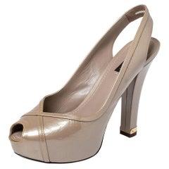 Louis Vuitton Monogram Leather Tamara Peep Toe Slingback Pumps Size 39