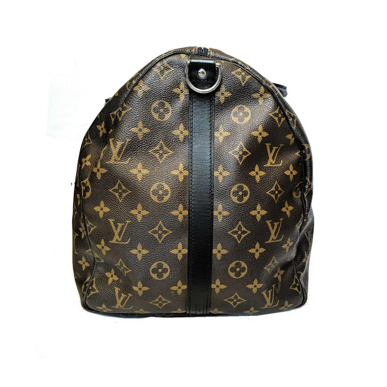 Gray Louis Vuitton Monogram Macassar Keepall Bandouliere 55 Luggage For Sale