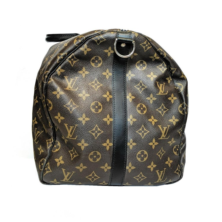 Louis Vuitton Monogram Macassar Keepall Bandouliere 55 Luggage In Excellent Condition For Sale In Scottsdale, AZ