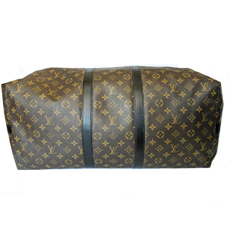 Women's or Men's Louis Vuitton Monogram Macassar Keepall Bandouliere 55 Luggage For Sale