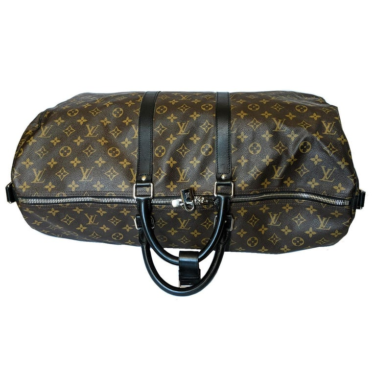 Louis Vuitton Monogram Macassar Keepall Bandouliere 55 Luggage For Sale 1