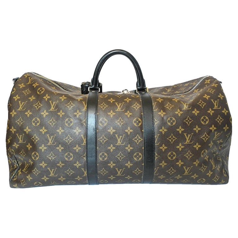 Louis Vuitton Monogram Macassar Keepall Bandouliere 55 Luggage For Sale