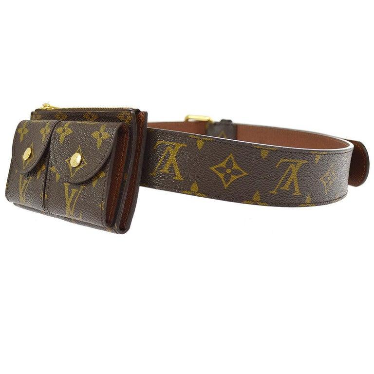 Louis Vuitton Monogram Men's Women's Dual Double Fanny Pack Waist Belt Bag In Good Condition For Sale In Chicago, IL