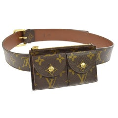 Louis Vuitton Monogram Men's Women's Dual Double Fanny Pack Waist Belt Bag